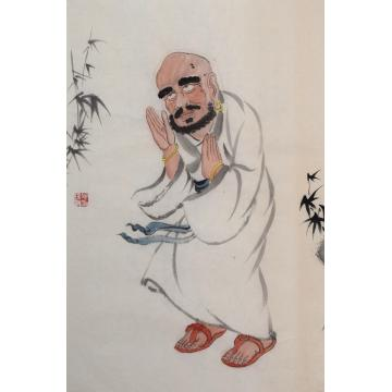 施瑞康四尺六开国画人物因陀得慧尊者字画之家