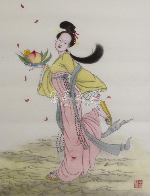 施瑞康国画人物麻姑献寿字画之家