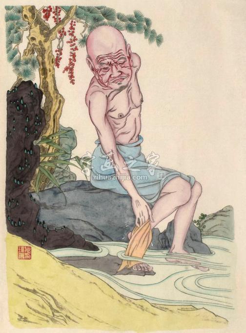 施瑞康国画人物洗污去垢字画之家