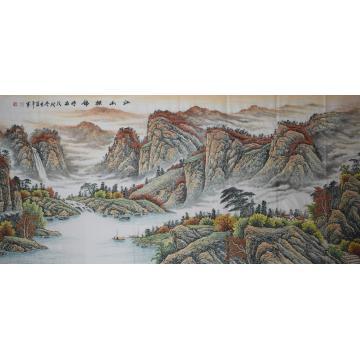 方道平六尺整张横幅国画山水江山披锦字画之家