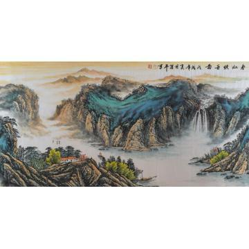 方道平四尺整张,横幅国画山水春江顺舟图字画之家