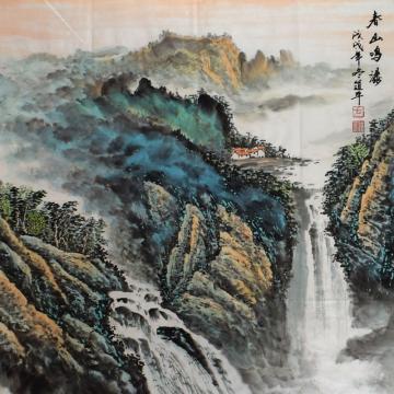 方道平斗方国画山水春山鸣瀑字画之家