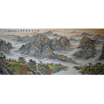 方道平小六尺整张横幅国画山水满山青翠溢芳香字画之家