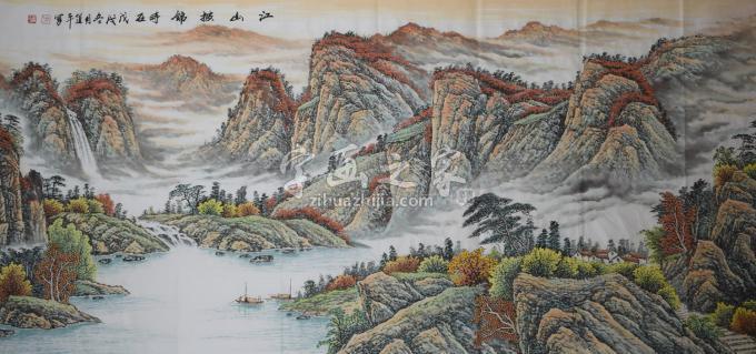 方道平国画山水江山披锦字画之家