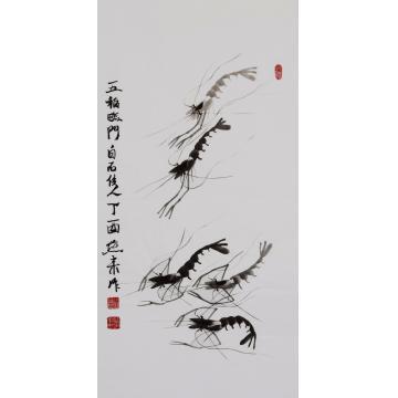宋燕来三尺竖幅国画花鸟五福临门字画之家