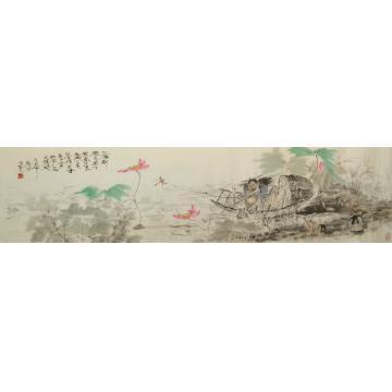 孙景照国画花鸟钓竿只好立蜻蜓字画之家