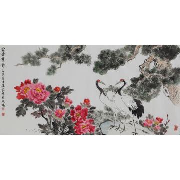 马建成四尺整张横幅国画花鸟富贵双寿字画之家