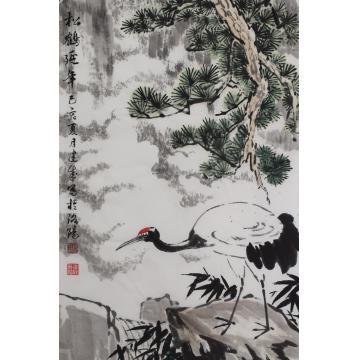 马建成四尺三开,竖幅国画花鸟松鹤延年字画之家