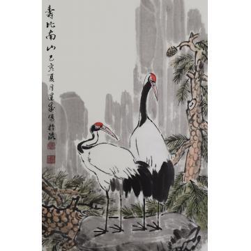 马建成四尺三开,竖幅国画花鸟寿比南山字画之家