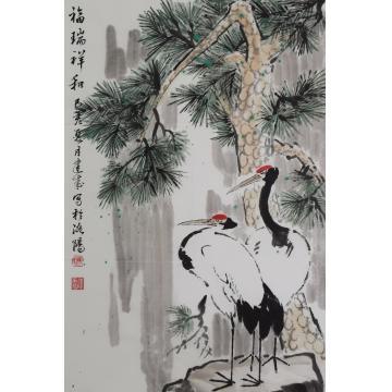 马建成四尺三开,竖幅国画花鸟福瑞祥和字画之家