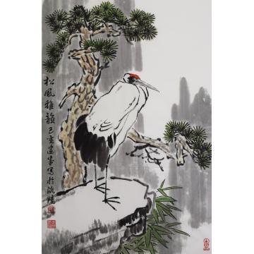 马建成四尺三开竖幅国画花鸟松风雅韵字画之家