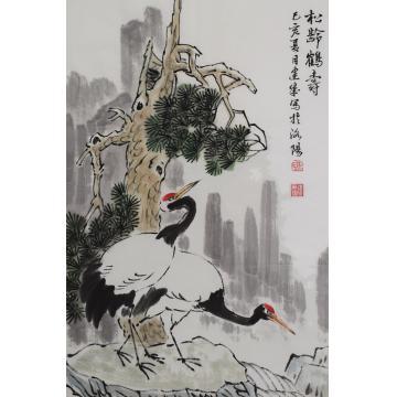 马建成四尺三开竖幅国画花鸟松龄鹤寿字画之家
