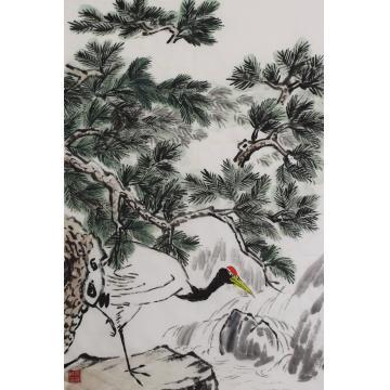 马建成四尺三开,竖幅国画花鸟松鹤字画之家