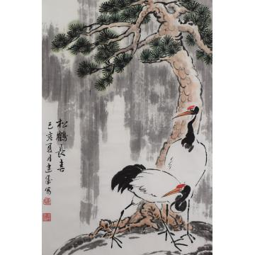 马建成四尺三开,竖幅国画花鸟松鹤长春字画之家