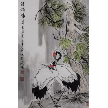 马建成四尺三开,竖幅国画花鸟佳偶咏春字画之家