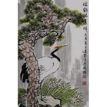 马建成四尺三开,竖幅国画花鸟瑞鹤沐晨字画之家