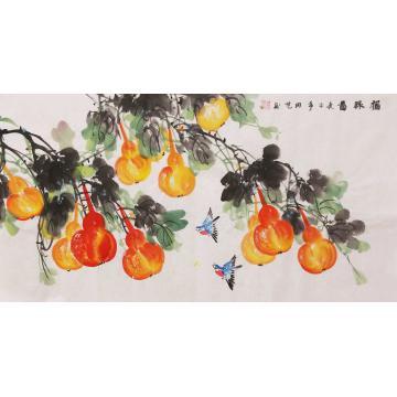 周艺三尺整张横幅国画花鸟福禄图字画之家
