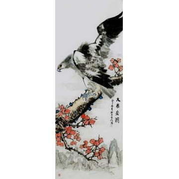 王长纯小六尺整张竖幅国画花鸟大展宏图字画之家