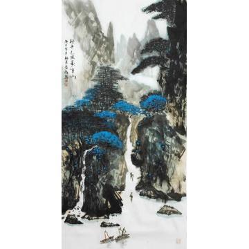 王长纯三尺整张竖幅国画山水轻舟已过万重山字画之家