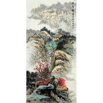 王长纯三尺整张竖幅国画山水幽居图字画之家