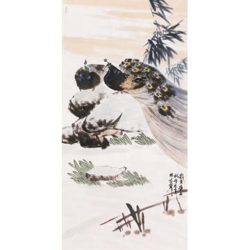 杜元春四尺整张竖幅国画花鸟双栖字画之家