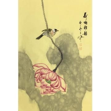 吴定川国画花鸟荷塘雅韵字画之家