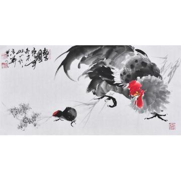 杨怀山国画花鸟教子图字画之家