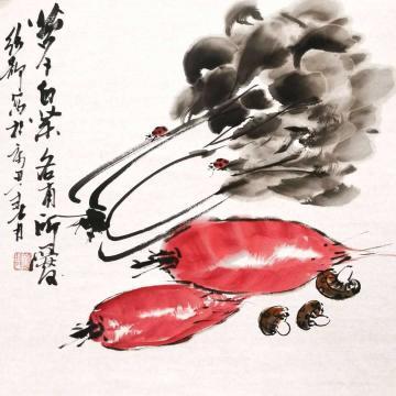 陈绍静国画花鸟萝卜白菜字画之家