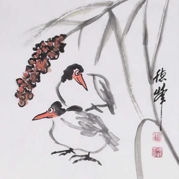 李德峰国画花鸟野塘双栖字画之家