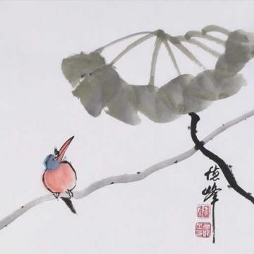 李德峰国画花鸟荷翠图字画之家