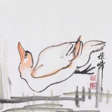李德峰国画花鸟春江水暖字画之家