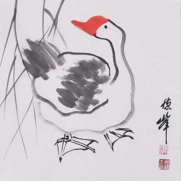 李德峰国画花鸟柳塘雅趣字画之家