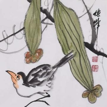 李德峰国画花鸟秋趣图字画之家