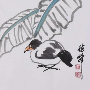 李德峰国画花鸟蕉荫小憩字画之家
