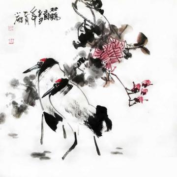 周小雨国画花鸟双鹤图字画之家