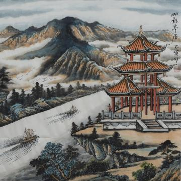 吕本宾国画山水帆影亭居字画之家