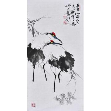 杨怀山国画花鸟瑞鹤呈祥字画之家