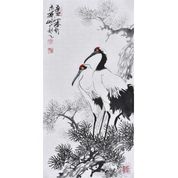 杨怀山国画花鸟双鹤图字画之家