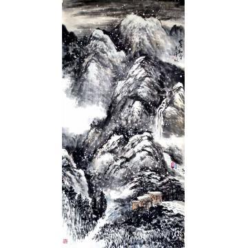 于恩沛国画山水山居初雪字画之家