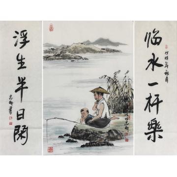 吴志刚国画山水渔乐图送对联字画之家