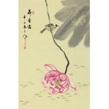 吴定川国画花鸟荷香图字画之家