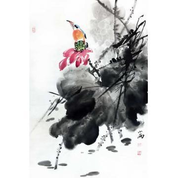 周小雨国画花鸟醉荷塘字画之家