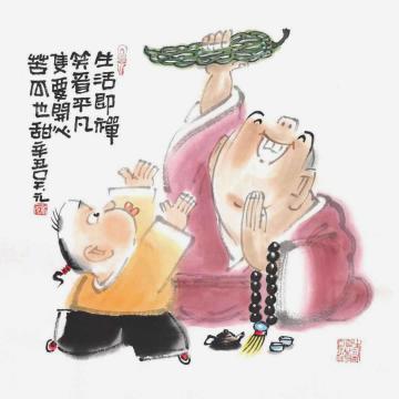 吴元国画人物苦瓜也甜字画之家