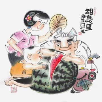 吴元国画人物甜在心里字画之家