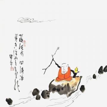 李迎春国画人物心将流水身与浮云字画之家