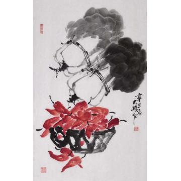 朱大成国画花鸟白菜红椒字画之家