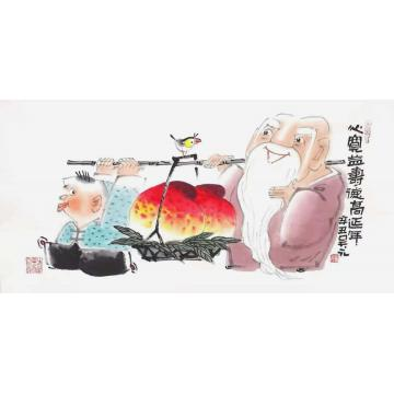 吴元国画人物心宽益寿德高延年字画之家