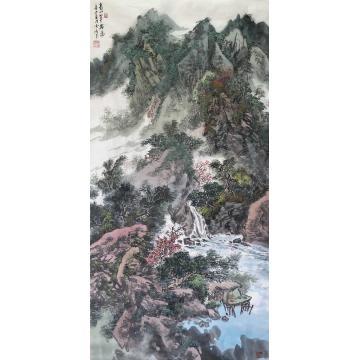 陆雪峰国画山水青山翠谷图字画之家
