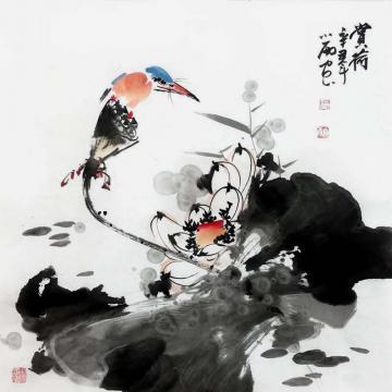 周小雨国画花鸟赏荷字画之家