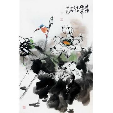 周小雨国画花鸟荷塘栖翠字画之家